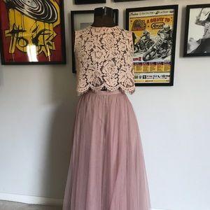BHLDN blush 2 piece bridesmaid dress